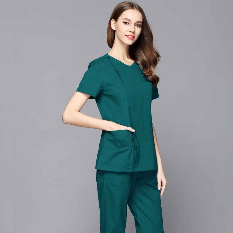 New Style Women Fashion Scrub Top Doctor Nurse Uniform Side Opening Front Shirt With Concealed Zipper Surgery Scrub (just A Top)