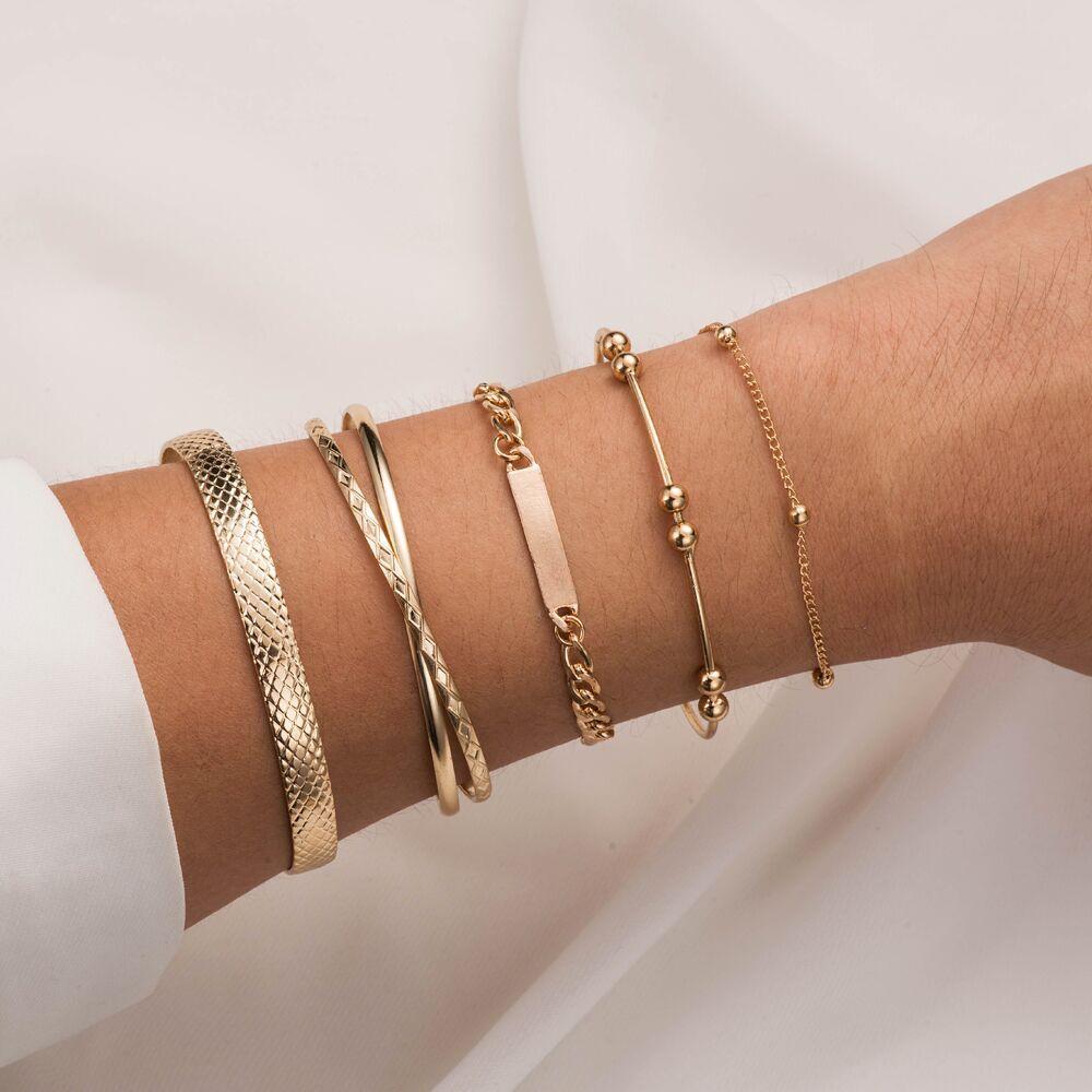 5 Pçs/set Cor do Ouro Abrir Cuff Pulseiras para Mulheres Elo Da Cadeia Pulseiras Bangles Set Moda Pulseiras Mulher 2020 Nova
