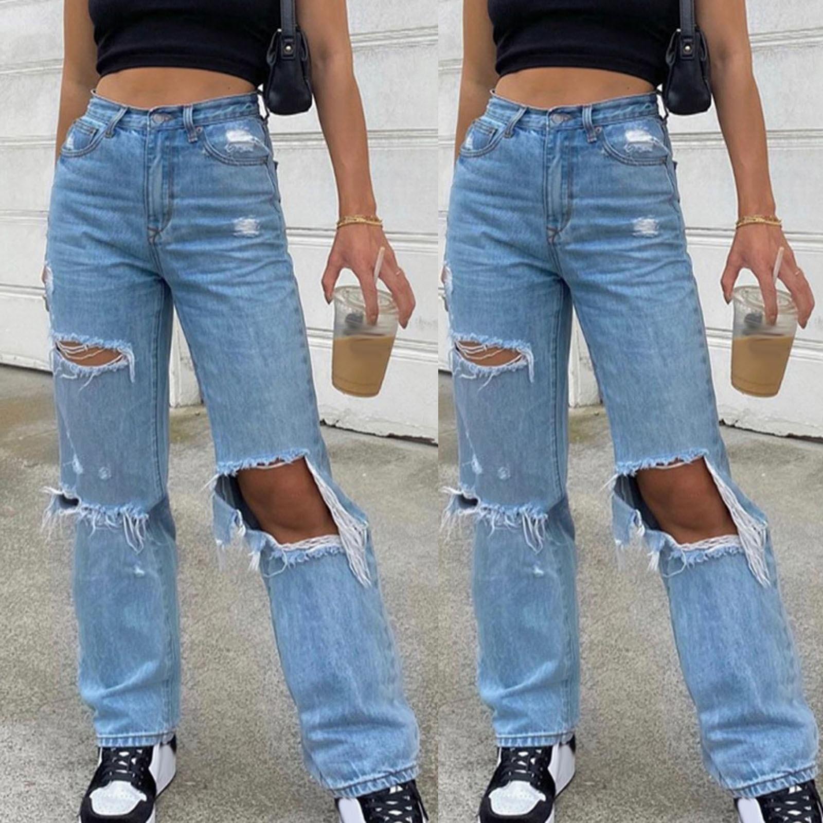 Erkek arkadaşı kot kadınlar için düğme yüksek bel cep elastik delik kot pantolon gevşek Denim pantolon Широкие Джинсы