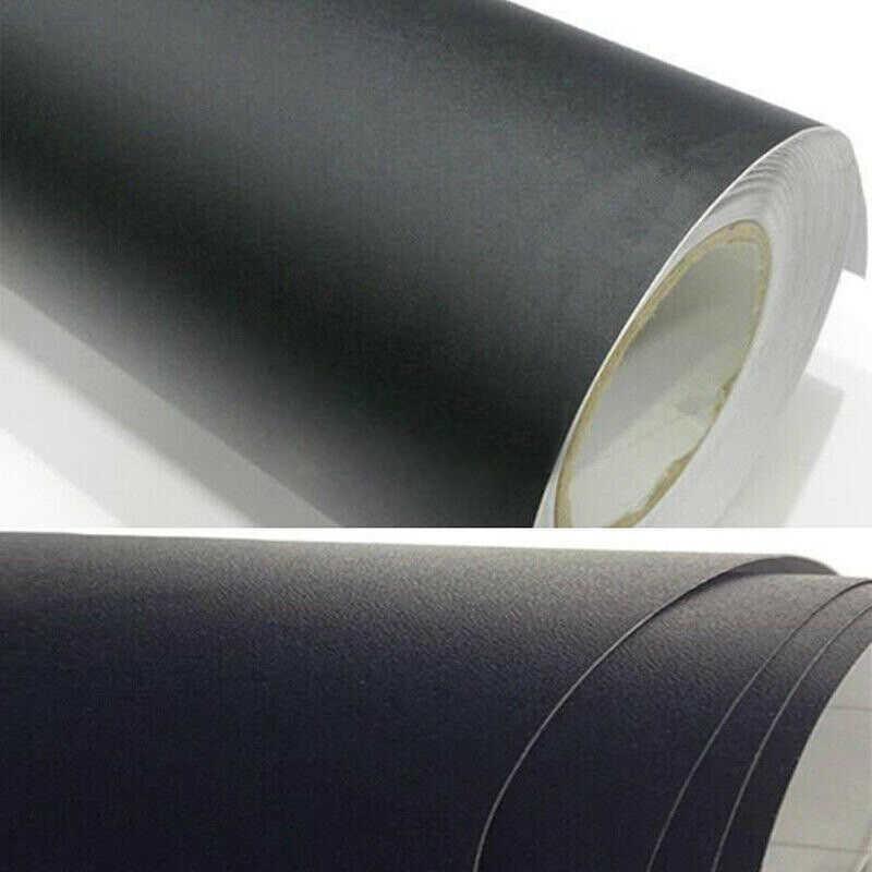 12X60 Inci Universal Matte Hitam Vinyl Film Wrap Mobil DIY Stiker Kendaraan Decal 3D Mobil Eksterior Warna Tubuh mengubah Film