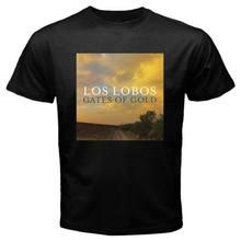 Novo los lobos band gates of gold logo masculino preto camiseta tamanho S-3XL