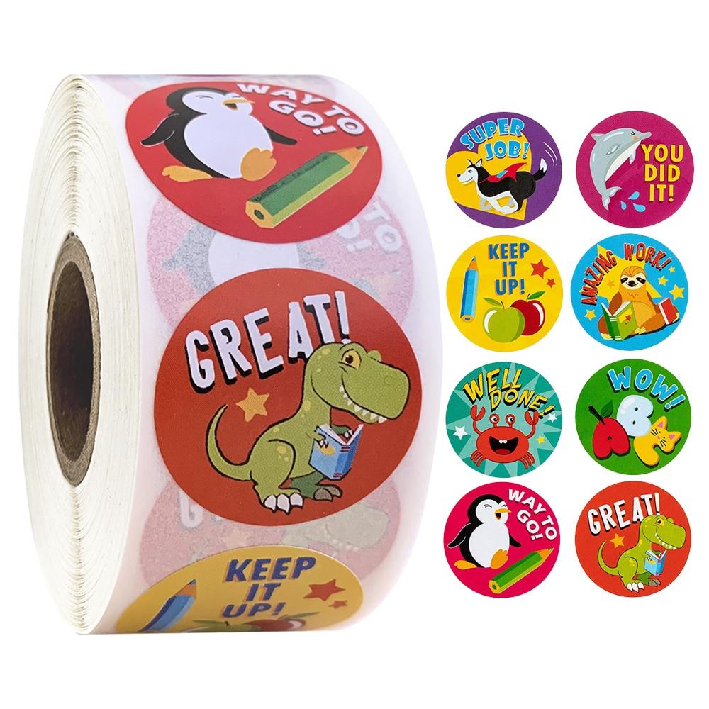 500pcs/roll Cartoon Animals Stickers Waterproof Funny Reward Sticker For Girls Boys Kids Children Gifts