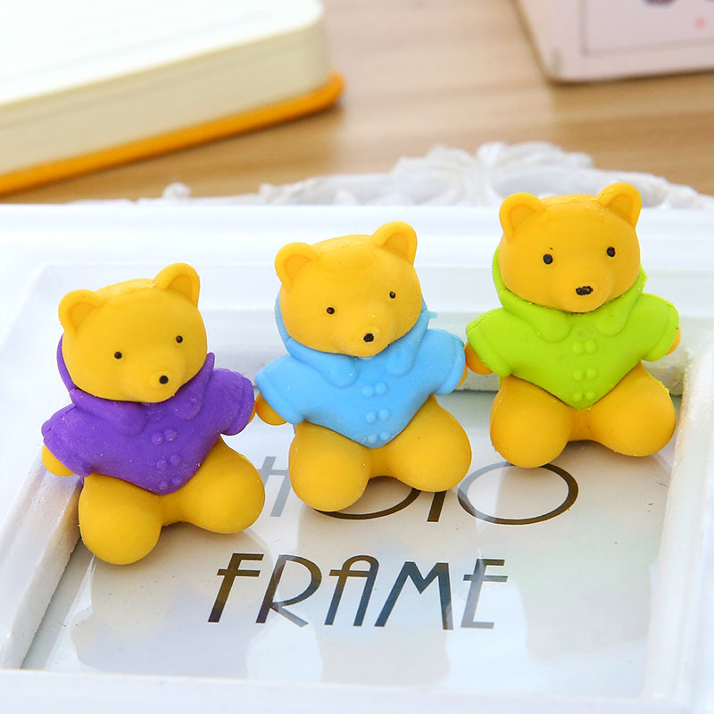 XGZ 36pcs Little Bear Eraser DIY Three-dimensional Oak Shawl  Yellow  Animal  Cute  Rubber