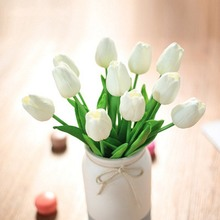 20Pcs FakeTulips PU Tulip Artificial Flower Bouquets 35CM  Flowers For Wedding Home Decoration
