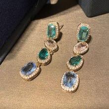 Модные женские серьги с разноцветным кубическим цирконием для