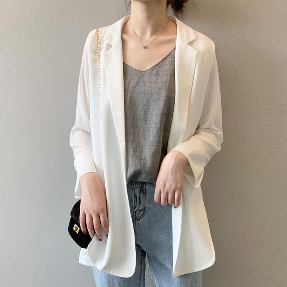 OL 2020 Spring Summer Black White Casual Blazer Ladies Loose Plain Thin Jackets Korean Janpanese Style Fashion Bleiser Feminino