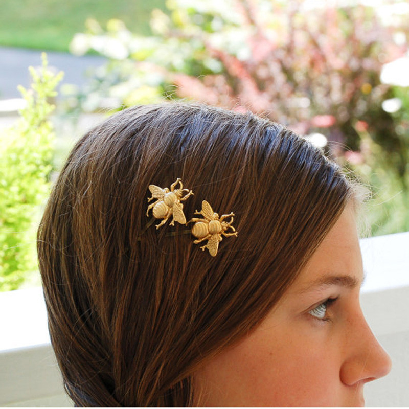 New Unique Bee Hairpin Gold Sliver Side Clip Hair Accessories Hair Clip Hairpin For Women Attractive Jewelry Hair Accessories