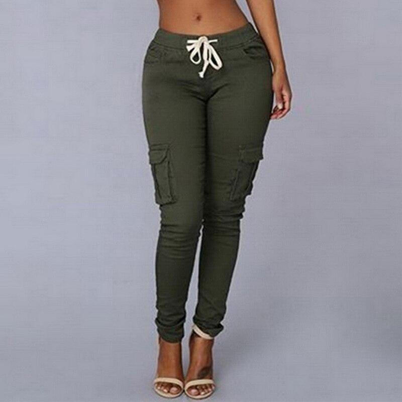 autumn Women Pencil Pant Lace Up Waist Casual Women Pants Solid Multi-Pockets Plus Size Cargo Pants Slim Fit Trousers