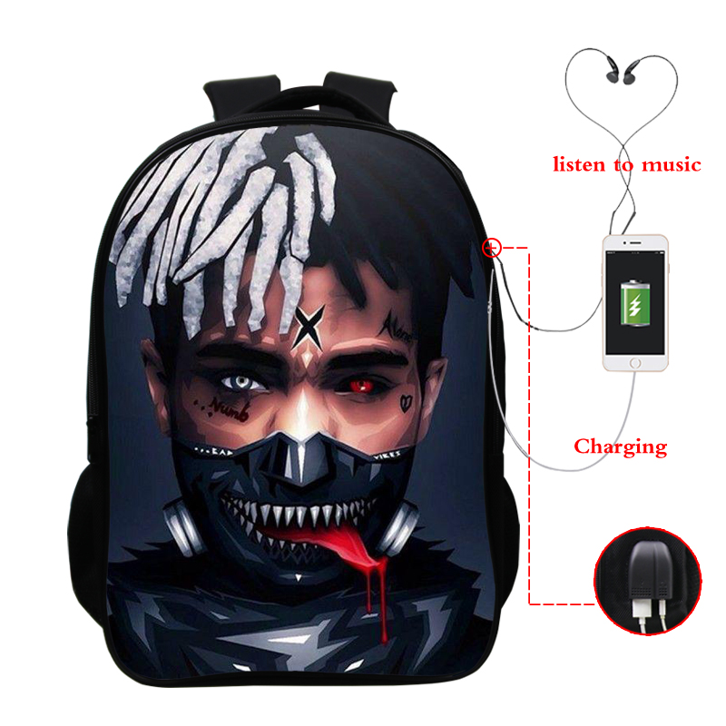 16 Inch Unisex School Bags Xxxtentacion Wallpapers Backpacks Pop Star Bagpack Travel Laptop Backpack Knapsack Bag With Charger