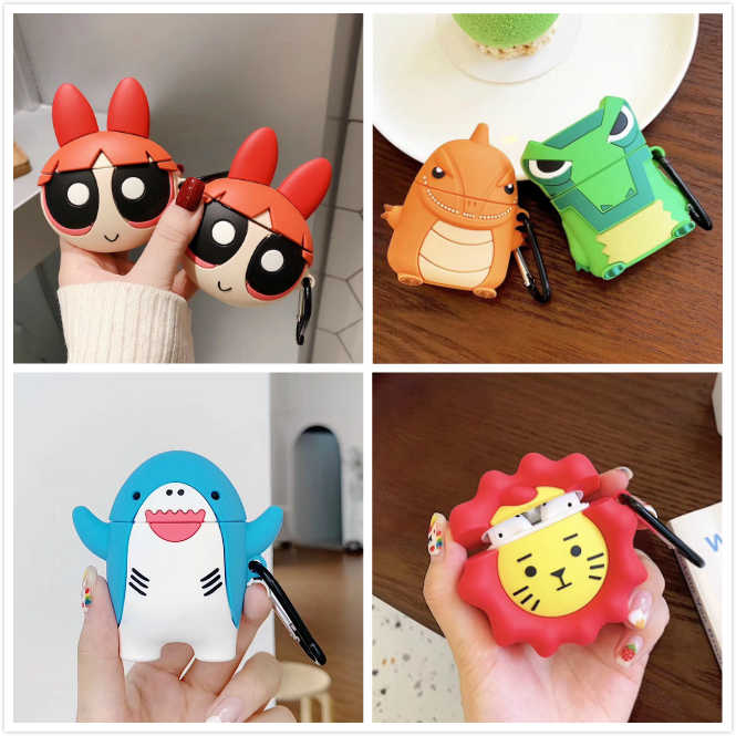 3D Cute Hedgehog Cartoon Cover For AirPods 2 Case Silicone Dinosaur Bluetooth Wireless Earphone Case For Apple Air Pods Case