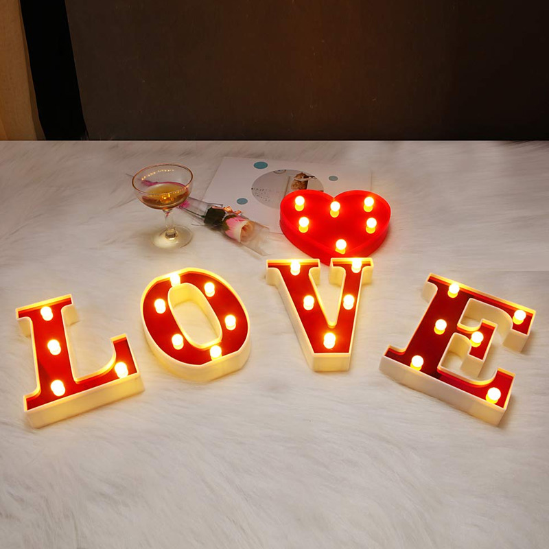 Hot LED Marquee Letter Lights 26 Alphabet Night Lights Lamp For Birthday Party Home Bar Decor PLD