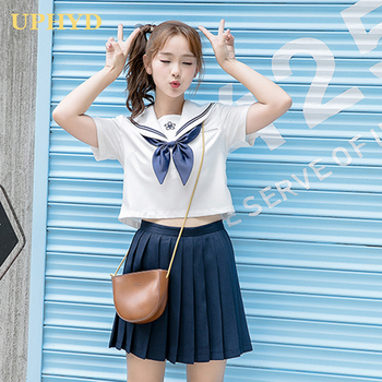UPHYD Sakura Embroidery School Girl Uniform S-XXL Japanese JK Sets Short Sleeve Summer High Sailor Suits