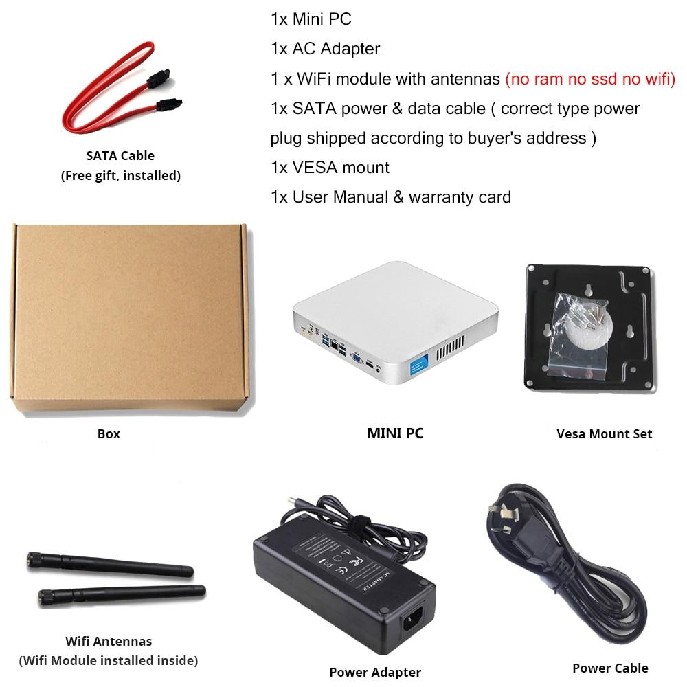 XCY Mini PC computer Intel Core i7 7500U i5 7200U Processor windows/10 linux Gaming PC 4K UHD HTPC HDMI VGA WiFi desktop X26UL 6