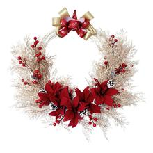 Simulation Wreath Christmas Door Decorations Holiday Party Garland Red