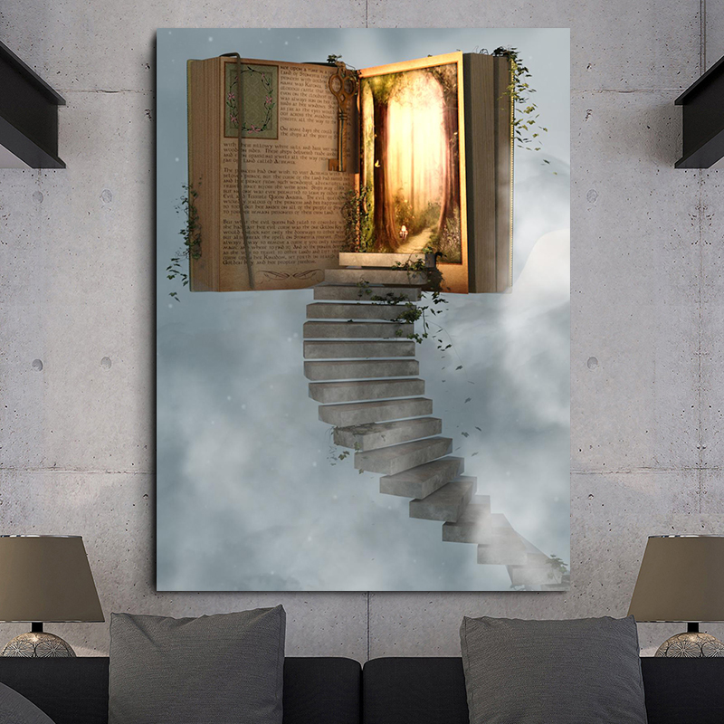 Wall Art Canvas Painting Modular Prints Pictures 1 Pieces Abstract Book The Gate Heaven For Modern Living Room Home Decor Poster(China)