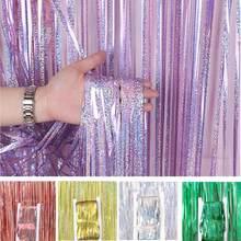 Metallic Foil Tinsel Fringe Door Curtain Wedding Decoration Christmas Mermaid Bride To Be Baby Shower Birthday Decoration