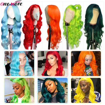 One More Dark Green Human Hair Wig  Brazilian Body Wave Human Hair Wigs 150% Pink Red Wigs Orange Lace Front Human Hair Wigs