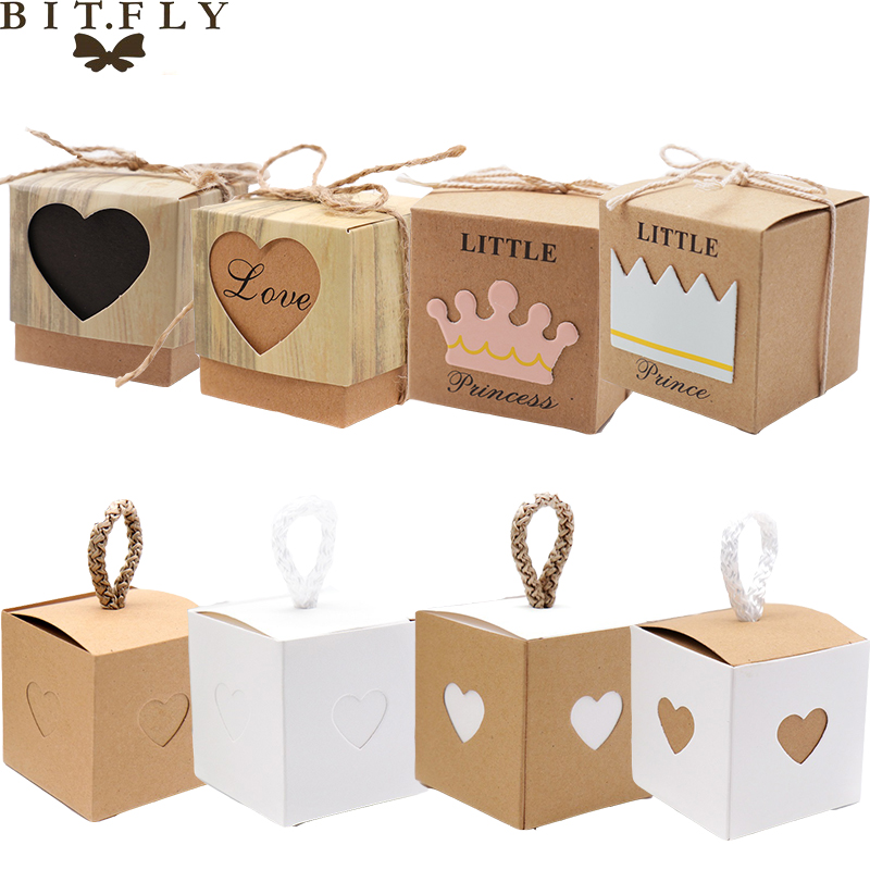 2pcs Kraft Paper Candy Gift Box Heart Crown Gifts Bags Party Supplies For Guests Wedding Baby Shower Birthday Decoration