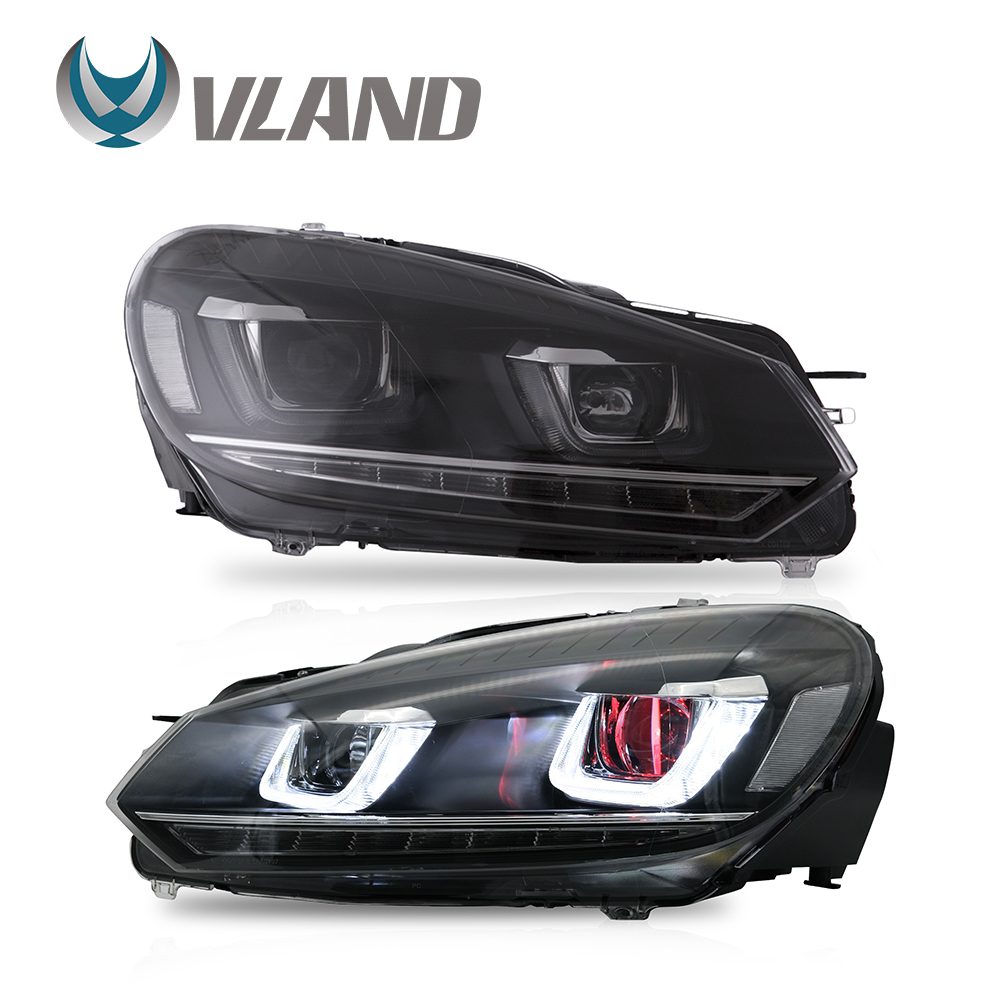 VLAND Headlamp Car Headlight Assembly For Volkswagen Golf Mk6 GTI/2012-2013 GOLF R Head Light Moving Turn Signal Dual Beam Lens