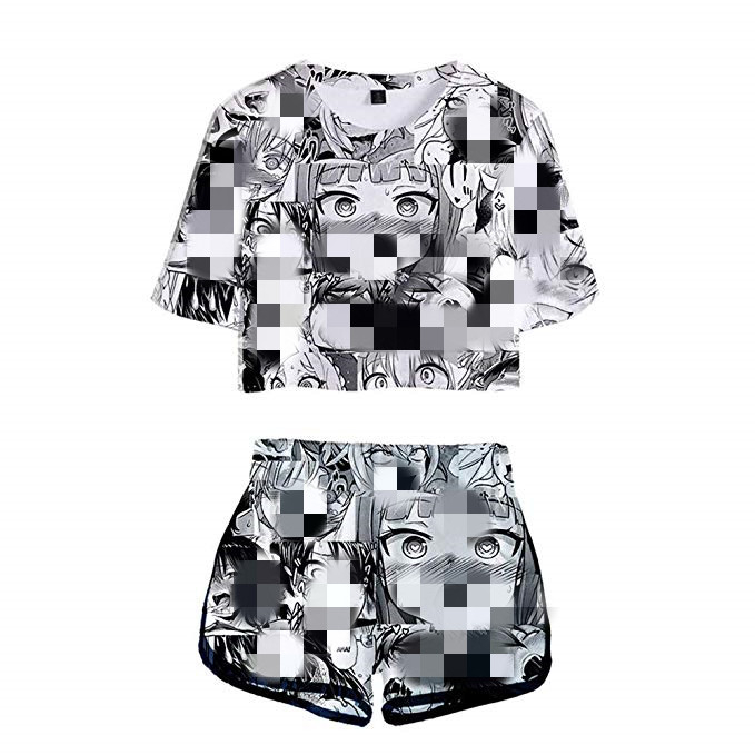 Summer Oringnal Ahegao Print Women's Tracksuit Clothes Set 2 Piece Woman Suits Shorts Crop Tops Shorts Pants Outfit Dropship