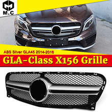 GLA45 Style grille grill X156 GLA45 look ABS Silver Fits For Benz GLA Class GLA180 GLA200 Front Bumper grills without Sign 14-16 for mercedes benz gla x156 front grille silver abs gla45 amg gla180 gla200 gla250 without central logo front racing grille 14 16