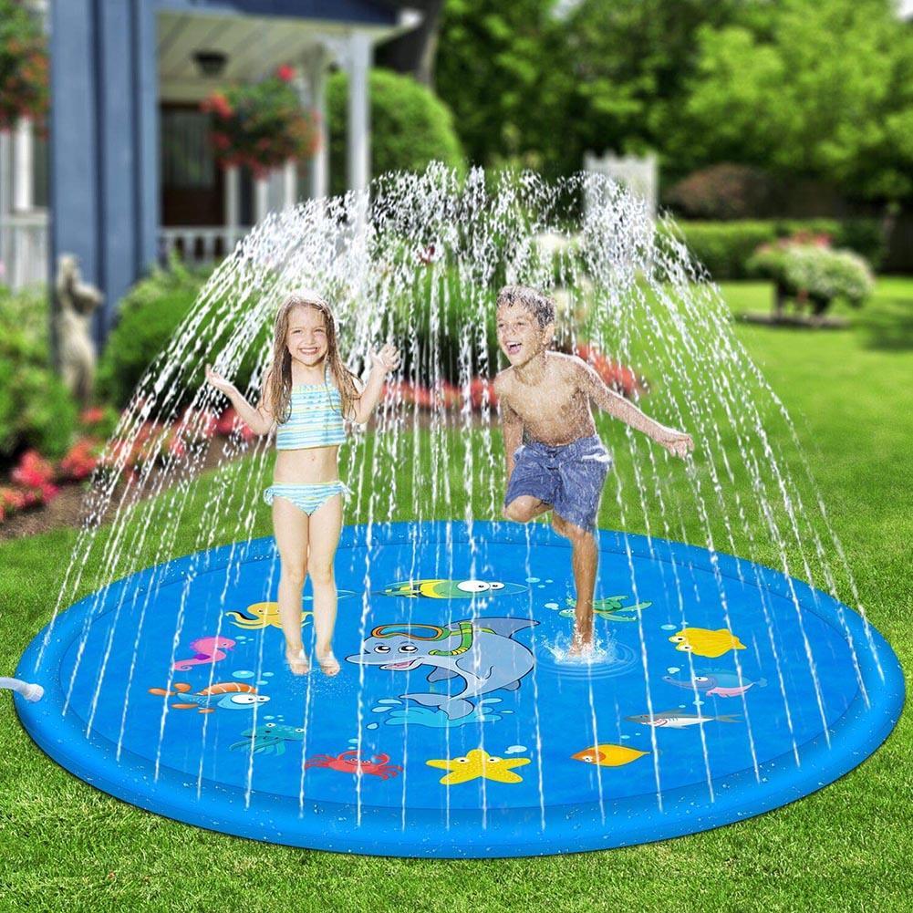 100cm Outdoor Lawn Beach Sea Animal Inflatable Water Spray Kids Sprinkler Play Pad Mat Water Games Summer Beach Mat Cushion Toys