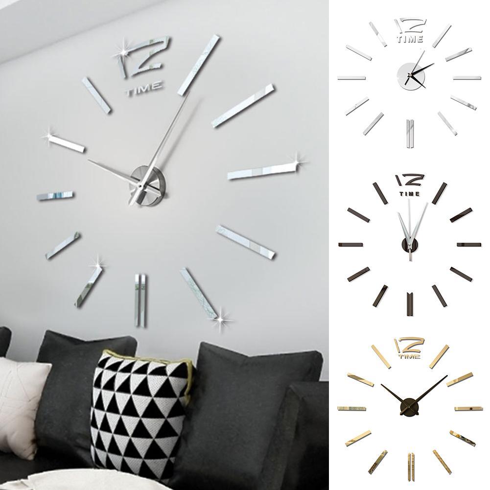 Design moderne Mini bricolage grande horloge murale autocollant muet numérique 3D mur grande horloge salon maison bureau décor cadeau de noël