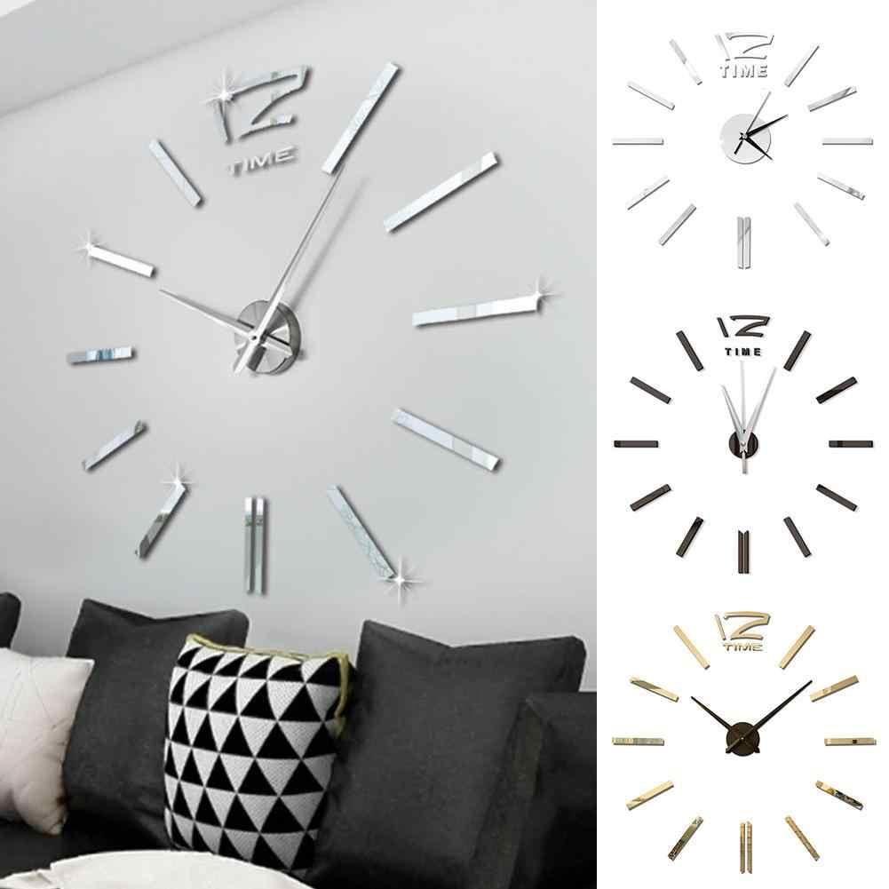Diseño moderno Mini DIY grande pared-reloj pegatina Mute Digital 3D pared gran reloj sala de estar hogar Oficina Decoración regalo de Navidad