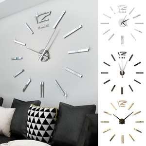 Wall-Clock-Sticker Office-Decor Big-Clock Christmas-Gift Digital Living-Room 3D Mute