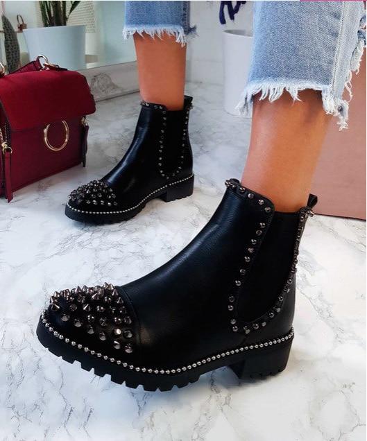 [GOGD] seksi perçin kadife gece kulübü parti ayakkabıları kadın kısa sonbahar kış bayan ayakkabı botları
