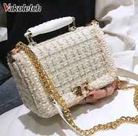 Ladies Chain Shoulder Crossbody Bag 2020 Winter Fashion New Female Square Tote bag Woolen Pearl Women's Designer Handbag KL722