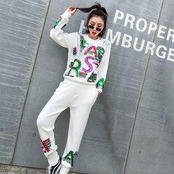 Осень 2019 корейский outfi 2 шт. вязаный комплект Женская одежда с длинными рукавами, сезон осень; свитеры с вышивкой трикотажной одежды зимняя о...