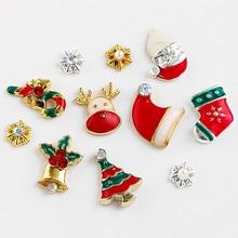 9 Designs Christmas Tree sock snowflake Nail Art Decorations Alloy Metal DIY 3D Nail Rhinestones Accessories Jewelry Tools