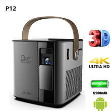 P12 4K 3D mini projector android 9.0 smart proyector build 12000mAh battery  2.4G/5G wifi BT4.2  full hd 1080p video game Beamer