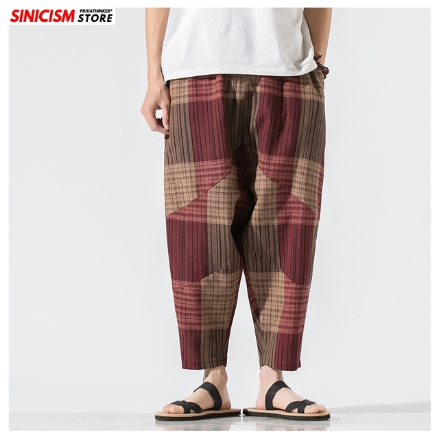 Sinicism Store Men Patchwork Harem Pants Mens Breathable 2020 Chinese Style Loose Joggers Male Summer Pants Oversize Bottoms 16