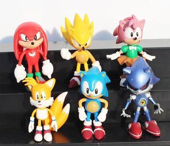 OHMETOY 6 uds Sonic The Hedgehog figuras de acción de juguete con caja llavero torta Toppers regalo de cumpleaños