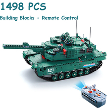New 1498PCS Remote Control RC Tank Technic Military Model Building Blocks WW2 War Army M1A2 61001 Tanks assembly Toys For Kids tamiya35269 tank assembly model american m1a2 abrams tank model