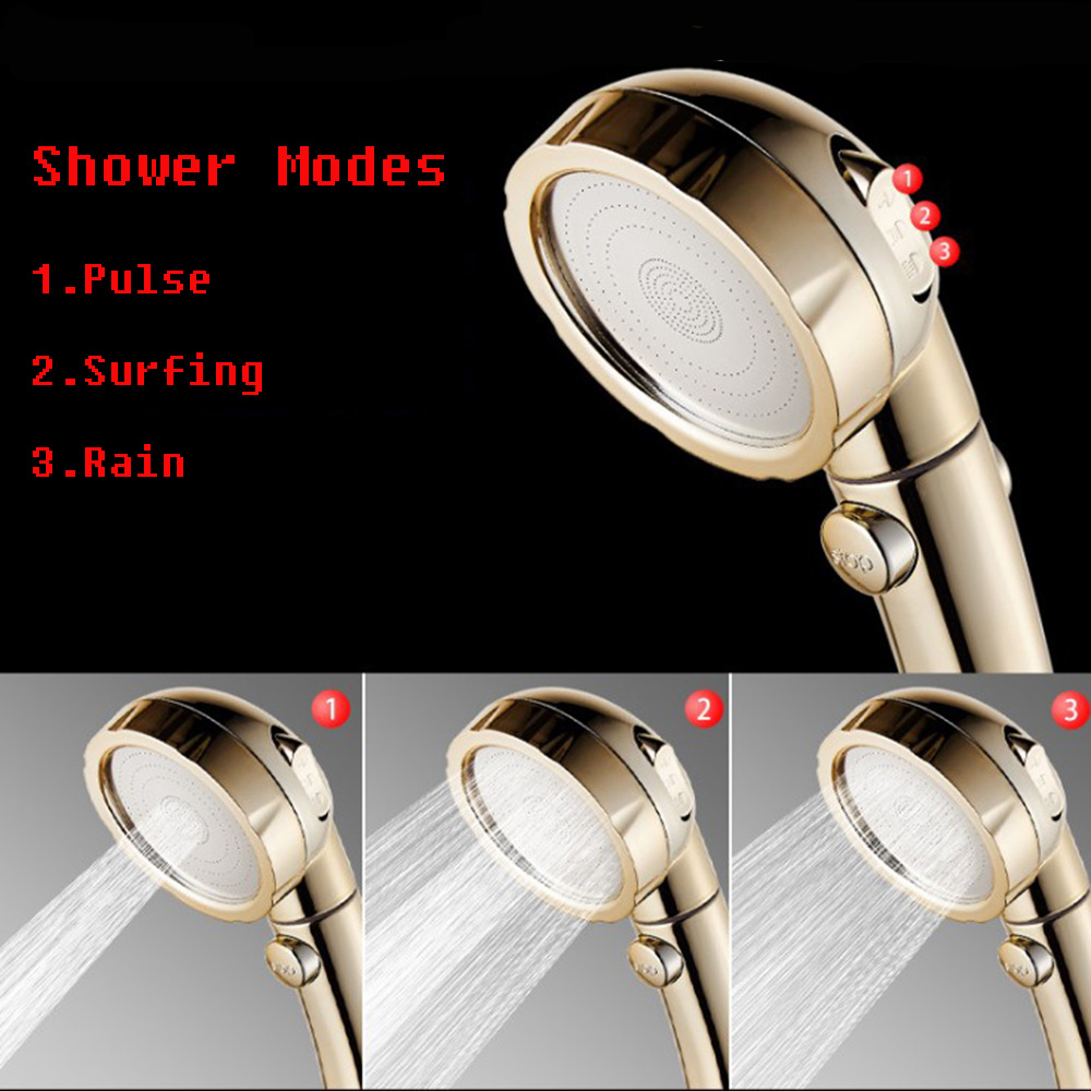 3 Mode Shower Water Pressure Shower Head 360 Degrees Rotating Shower Head Adjustable Water Saving Shower Head With Stop Button