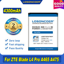 100% original losoncoer 4300mah li3822t43p4h746241 para zte lâmina l4 pro/twm incrível x3s/telstra 4gx hd bateria a465 a475