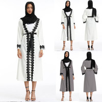 Women Muslim Tassel V Neck Long Sleeve Arab Long Dress