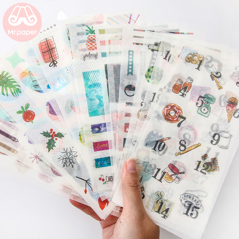 Mr.paper 24 Designs 4pcs/lot  Based Sketchbook Deco Washi Stickers Scrapbooking Bullet Journal Popular Deco Plain Sheet Stickers