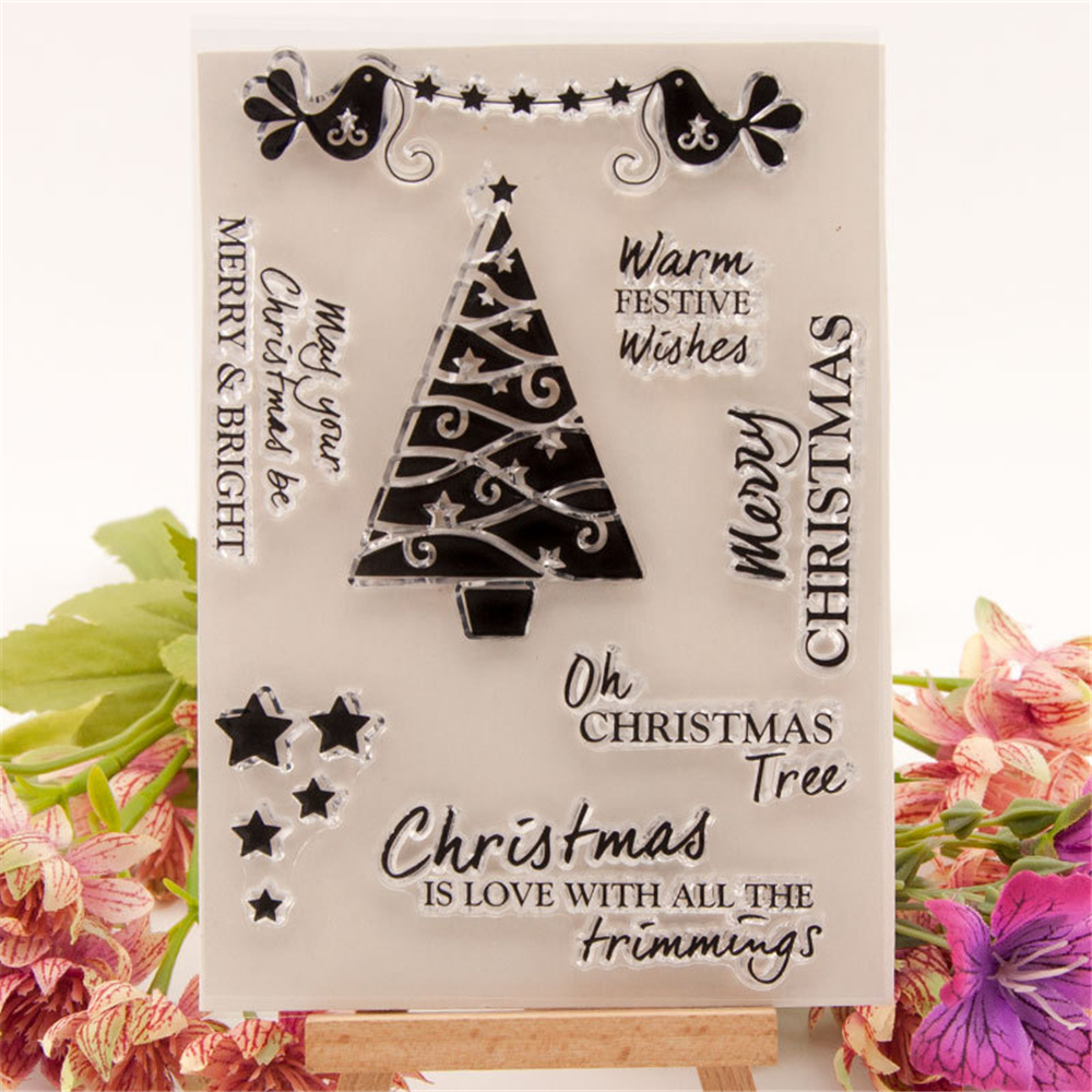 Clear Silicone Stamp  Album Scrapbooking Photo Card Christmas tree love