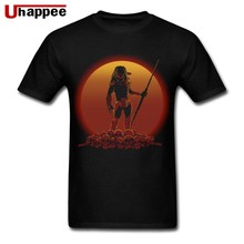 Custom Print T-Shirts Predator Alien Hunter on Sunset Adult Short Sleeves Round Neck Pure Cotton T-Shirt Homme gift for Dad(China)