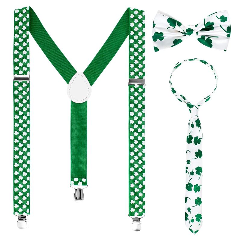 3 Pieces St. Patrick'S Day Suspender Accessories Set Includes Shamrock Suspenders Shamrock Neckties Bowties For Irish Holiday Pa