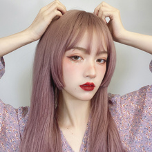 MANWEI Long Straight Synthetic Wig with Bangs Ombre Thin rattan 24 Inch Fashion Cosplay Party Wigs for Women