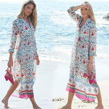 Boho Bohemian Floral Print Turn Down Collar Summer Tunic Beach Dress Long Sleeve V Neck Side Split Midi Dress Plus Size