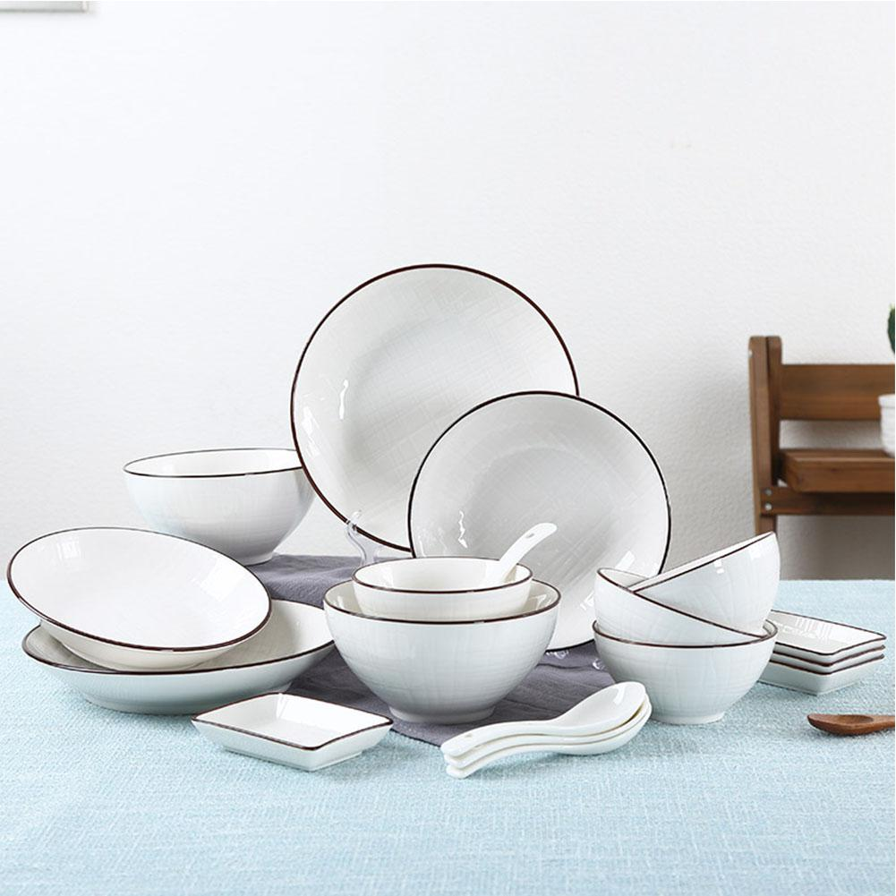 8pcs/set Ceramic Tableware Set Kitchen Dinnerware Pure Color