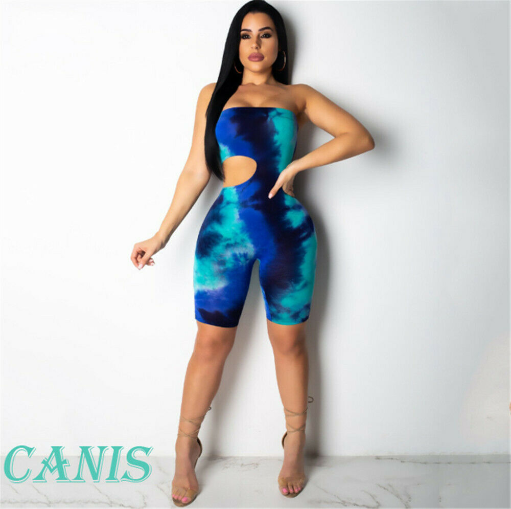 Women Jumpsuit Tie Dyeing Bodycon Strapless Casual Club Party Romper Overalls Femme 2019 Summer Fashion Tracksuit Ropa Mujer