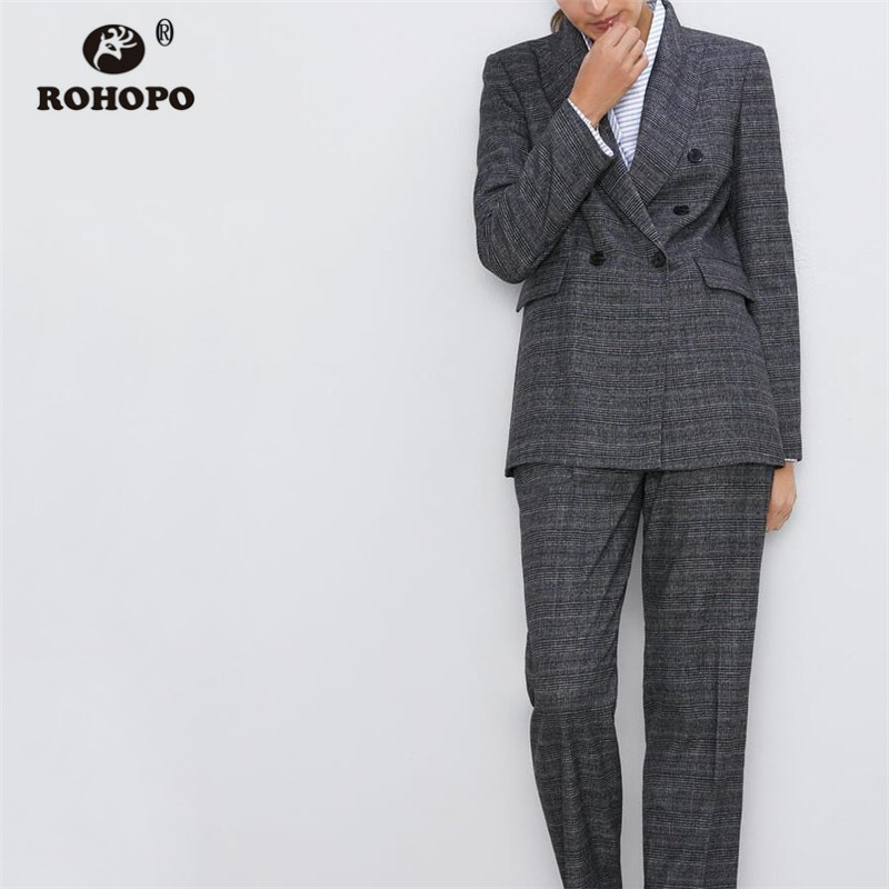 ROHOPO Double Breast Plaid Striped Grey Slim Blazer Notched Collar Side Flaps Welted Pockets Office Ladies Chic Outwear #9517