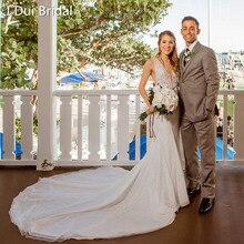 تغرق الرقبة حورية البحر فساتين الزفاف منخفضة الظهر اللؤلؤ مطرز بلا أكمام زين مطرز صور حقيقية فستان الزفاف Vestido de Novia